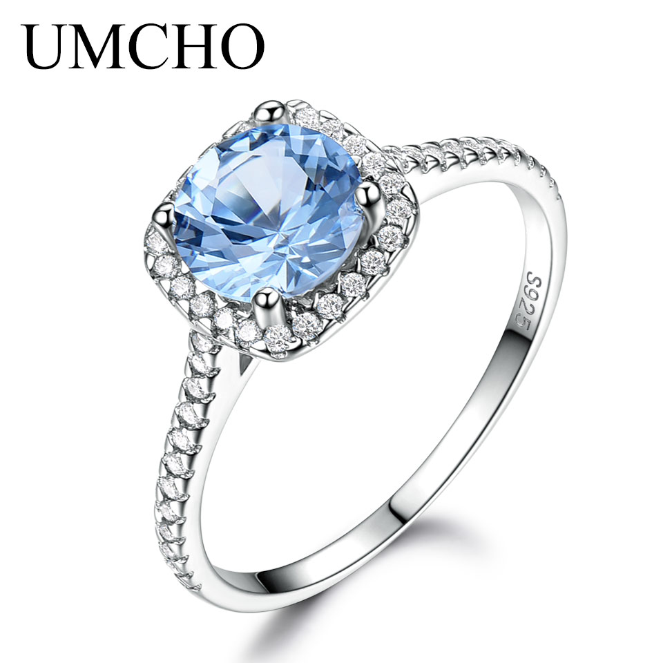 UMCHO Solid 925 Sterling Silver Rings For Women Sky Blue Topaz Silver Ring Female Wedding Band Birthstone Wedding Party Jewelry