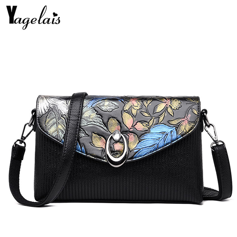 2018 New Flowers Printing Flap Bag Leather Womens Clutch Lady Handbag Brand Messenger Shoulder Bags Sac A Main Femme Phone Bag