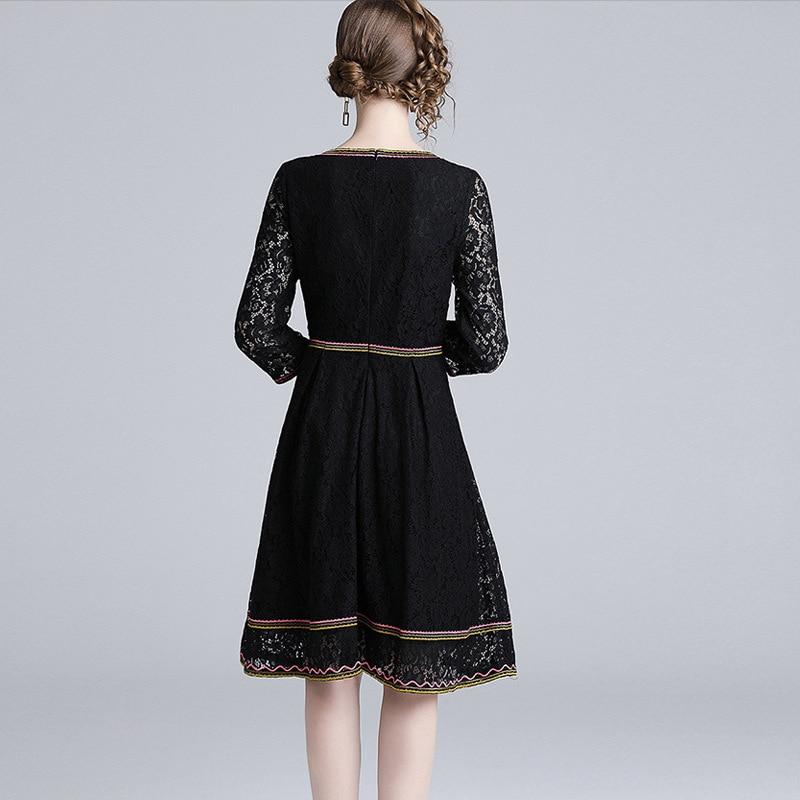 2019 ligne Xl Broderie Pour Mode Travail Femmes Robe Nouvelle S Mince Occasionnel Arrivée Dress ~ Parti cou Dames De Black O Robes A Printemps Dentelle BTaqxwOBr