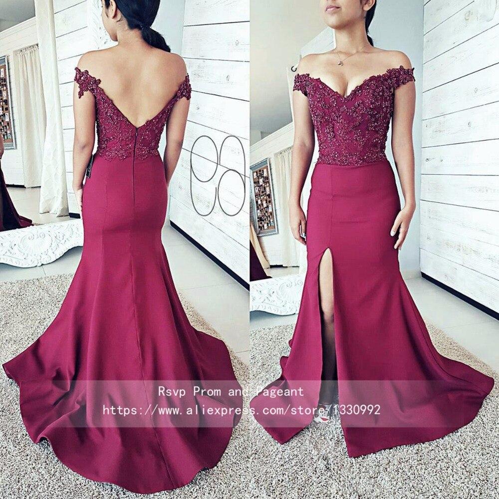 4ffda8dea368 Off the Shoulder Burgundy Prom Dresses Lace Pearls Top Short Sleeve  Backless V neck High Slit Long Mermaid African Prom Dress
