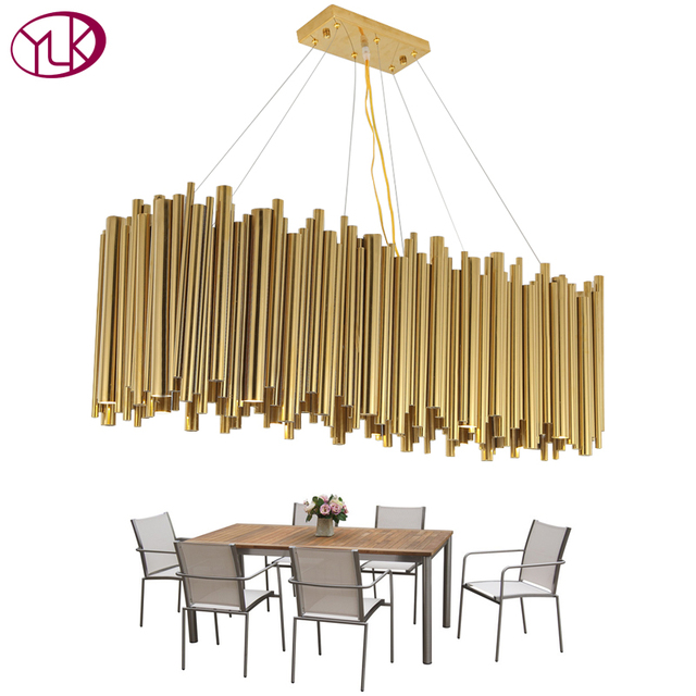 Youlaike Modern Luxury LED Chandelier Lighting Gold Stainless Steel Lamp Rectangle Dining Room Kitchen Hang LED Light Fixtures