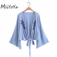 MLIYOYA Women Floral Embroidered Sashes Blouses 2017 Autumn Long Sleeve Open Shirts Ladies Casual Sexy Deep