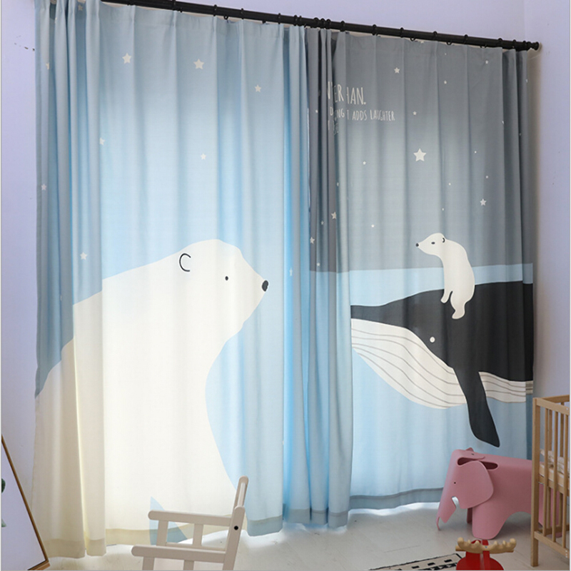 Kids Curtains For Living Room Bedroom Whale Polar Bears Pattern Design Window Curtains Baby Room Lovely Children Curtains DrapesKids Curtains For Living Room Bedroom Whale Polar Bears Pattern Design Window Curtains Baby Room Lovely Children Curtains Drapes