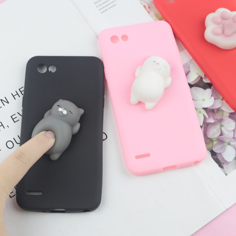 3D Squishy Toys Cute Cat Case For LG K4 2017 K10 2018 K8 K7 G5 G6 G7 V30 Q6 Plus Q6A Q7 Q8 Candy Cover Funny Cat Soft Cases