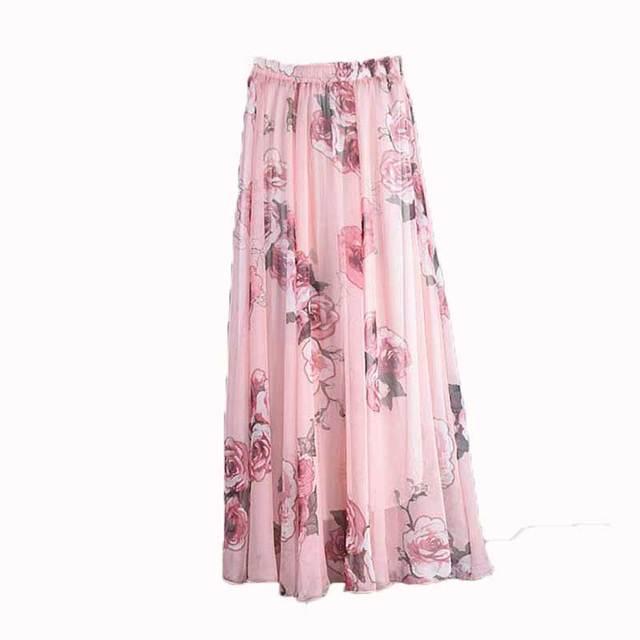 Boho Longueur Au Été Femmes Harajuku Jupes Vintage Soie Longue En Mousseline Sol Maxi Plage Jupe Mode Imprimé Bohème De Floral kXN80nOZwP