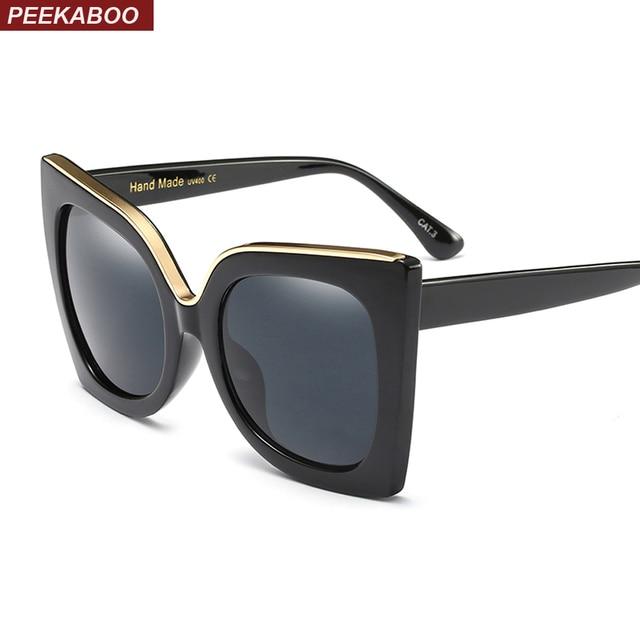 Peekaboo moda oversized cat eye sunglasses mulheres marca uv400 óculos de lente  gradiente preto borgonha branco 3ce6a3a1ba