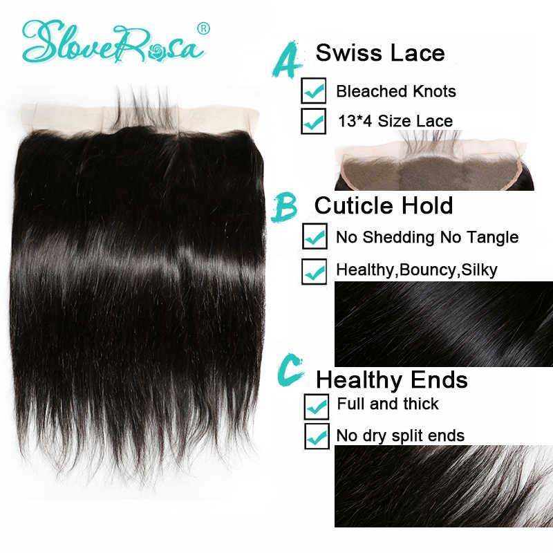 Прямые бразильские волосы remy на кружевном фронтальном закрытии 13x4 ушные отбеленные узлы с детскими волосами предварительно выщипанные волосы Slove Rosa
