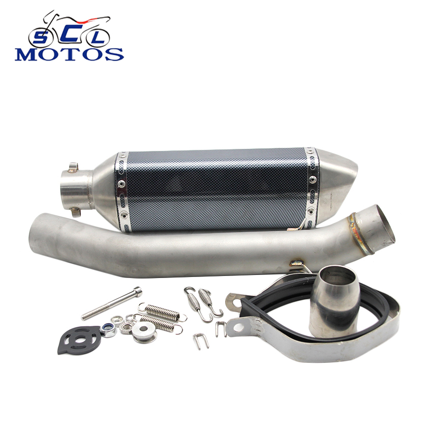 Sclmotos Motorcycle Exhaust Muffler Modified Muffler pipe with Middle pipe Case for KAWASAKI Z750 2010-2014 high quality stainless steel motorcycle exhaust modified muffler pipe for kawasaki z750 zr750
