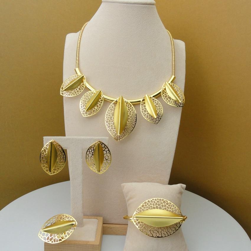 Yuminglai Dubai 24K Gold Jewlery Exquisite Jewelry Sets Necklace FHK5838