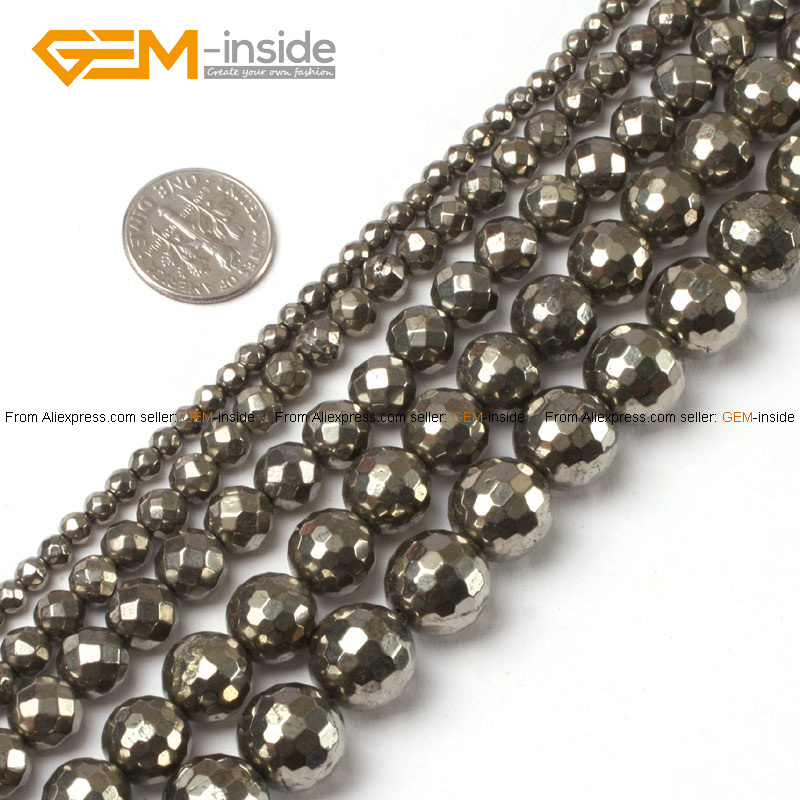 Gem inside natural round faceted silver gray pyrite beads for Natural seeds for jewelry making