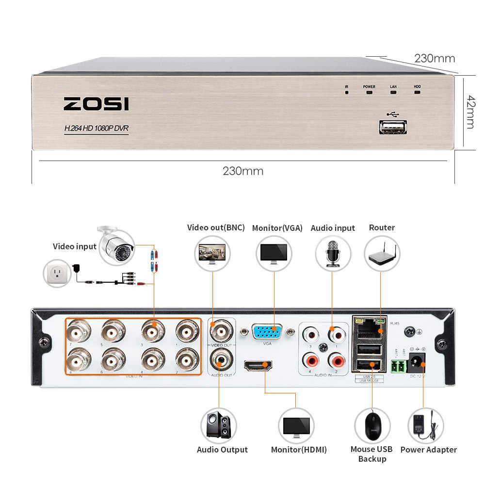 ZOSI 1080 P 2.0MP 8CH عالية الوضوح الهجين 4-في-1 HD TVI DVR HDMI شبكة P2P شحن تطبيق جوال للأمن نظام 2 تيرا بايت HDD