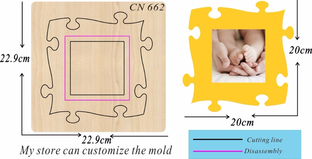 Yellow detachable photo frame new wooden mould cutting dies for scrapbooking Thickness 15 8mm