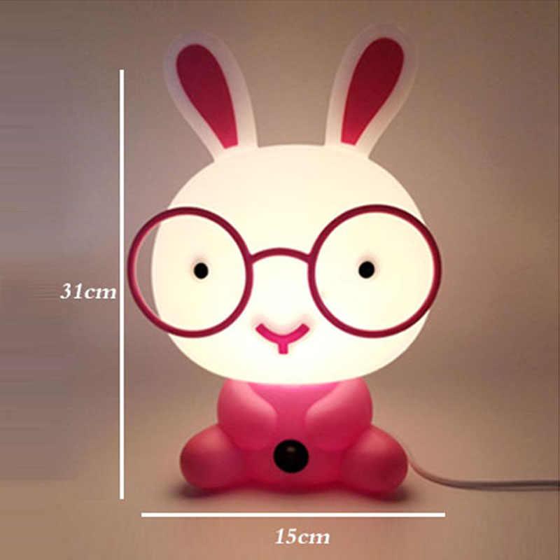 Современные милый лампа в детскую спальню кролик ночник светодиодный фонарик, Рождественский подарок прикроватный Декор детские прекрасные очки кролики огни