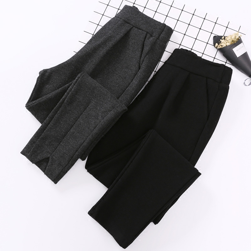 Spring new autumn and winter fashion woolen pants female Korean loose feet thick woolen trousers tapered harem pants radish B000