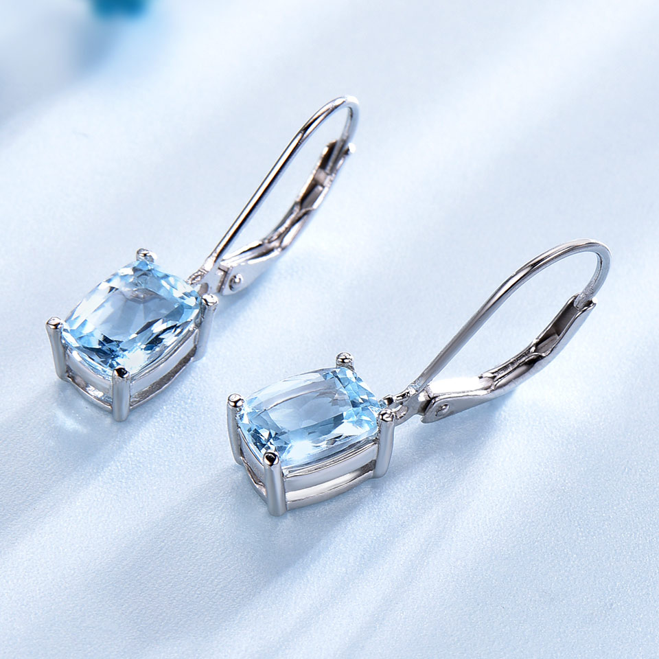 UMCHO 1.20CT prirodno nebo plavo Topaz Gemstone Naušnice 925 - Fine nakit - Foto 3