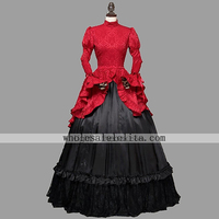 Victorian Edwardian Downton Abbey Red Queen Dress Steampunk Theater Clothing