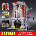 Nueva LEPIN 16001 4705 Unids Ghostbusters Firehouse Sede brinquedos Modelo set Kits de Edificio Modelo Compatible 75827
