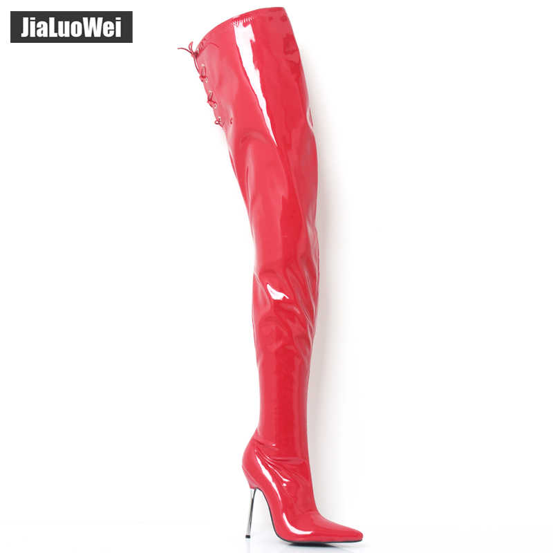 abdc55d6b jialuowei 12cm Ultra High Heel Women Sexy Fetish Boots Metal Heels Pu  Leather Pointed Toe stiletto
