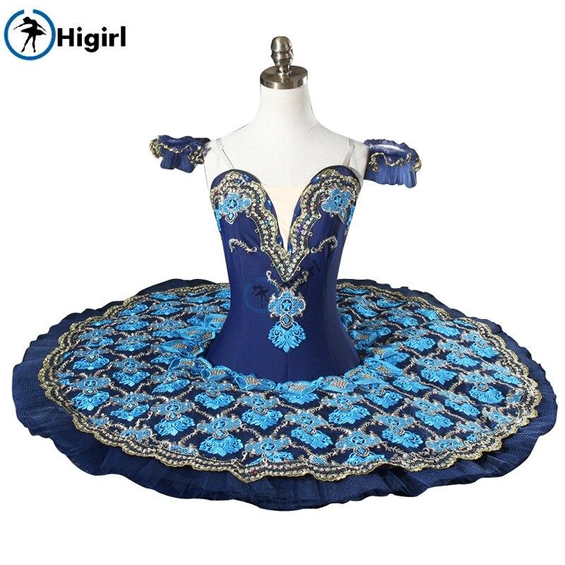 Blå professionelle tutu voksen domstol ballet tutu pandekage kostumer klassiske ballet tutu scene kostumer blå BT9081