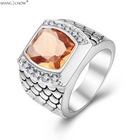 2017 New Fashion Charm Jewelry With Huge Morganite Stone 925 Sterling Silver Ring For Man Cocktail