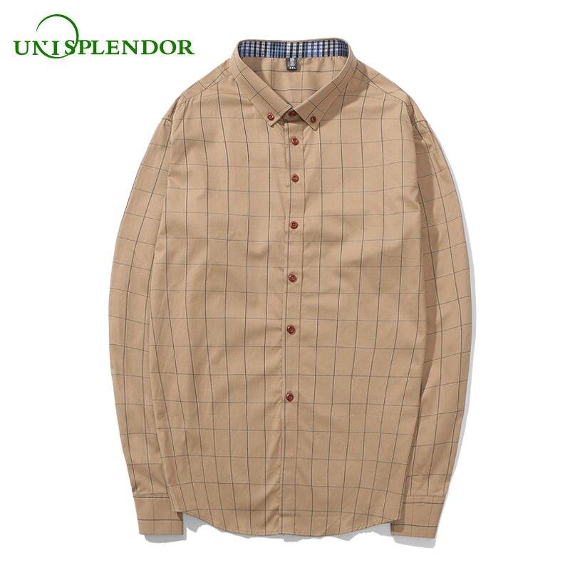 227f1d5c82 Unisplendor 100% algodón nueva primavera 2018 hombres ocasionales camisa  para hombre vestido slim fit Plaid Camisas manga larga camisas chico tops  yy75
