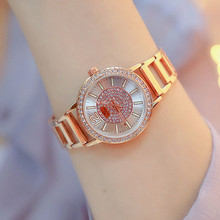 New Hot Chain Watch Arabic Digital Scale Rhinestone Dial Metal Strap Gold Silver Rose Ladies Fashion Casual