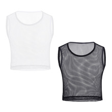 Men's Solid Mesh Crop Tank Top