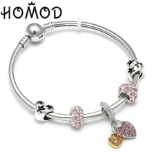 HOMOD Love Heart Lock Pendant Pink Rhinestone Crystal Brand Charm Bangles Bracelets Party Women Jewelry