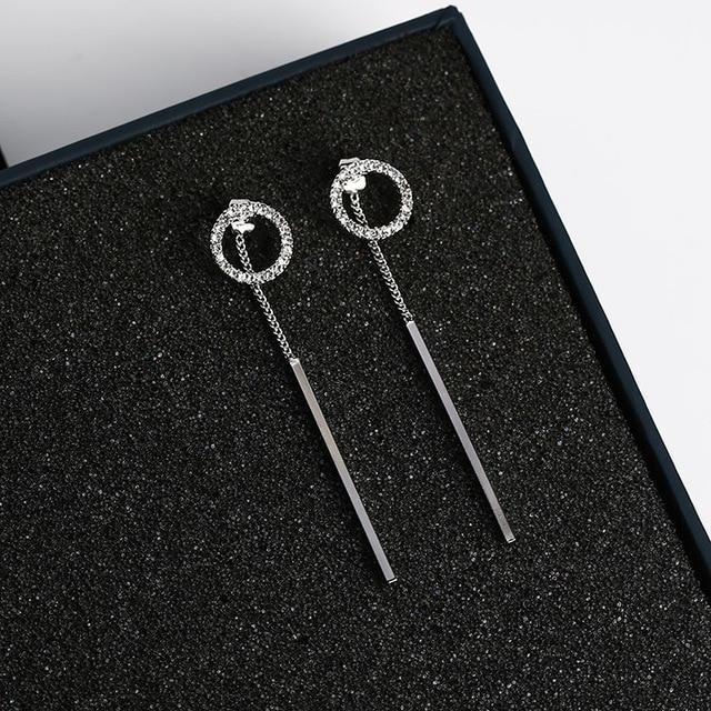 Shiny Rhinestone Circle Dangle Earrings 2