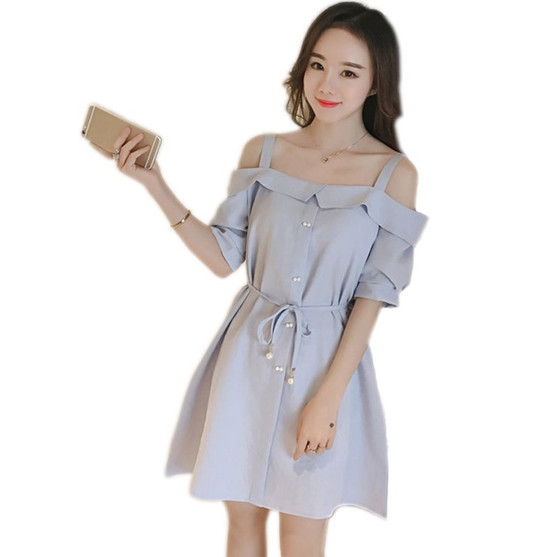 2019  Korean Style Ruffles Sweet Summer Backless Women Casual Beach Solid Shoulder Dress Party Color Cold Button Dresses