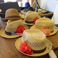 Summer Style Floral Baby Girls Fedora Hats With Holes Kids Sun Beach Hats For children Free Shipping GPXS-020