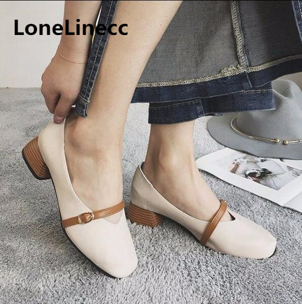 2018 spring new Mary Jane shoes women Korean version retro with grandmother shoes women with a word buckle square head shoes 104 mary sterling jane math word problems for dummies
