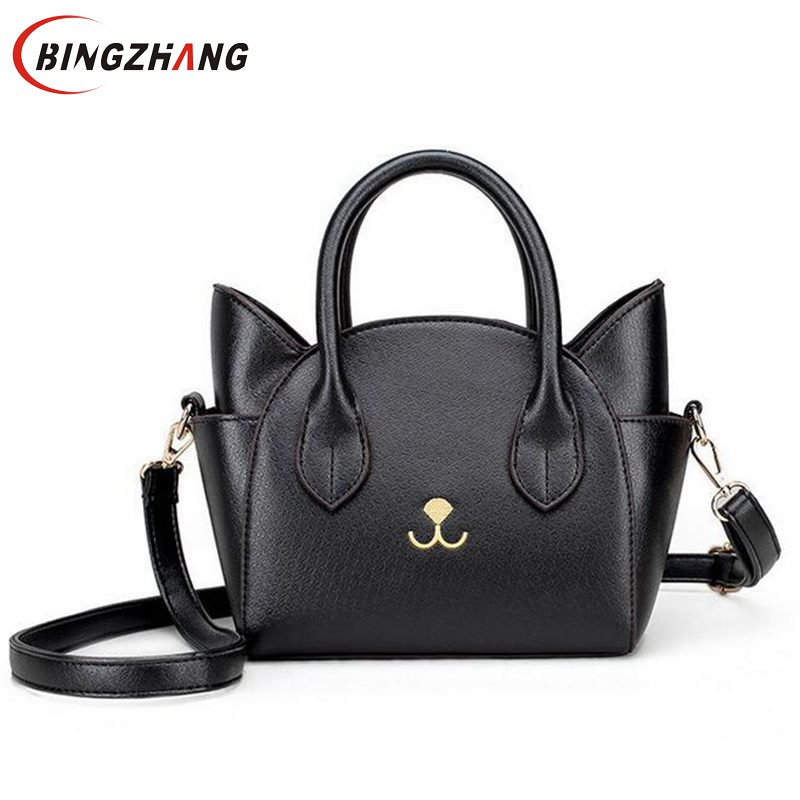 Womens Hand Bags Small Cute Cat Messenger Bag Luxury Handbags Women Leather Ladies Black Famous Brands Designer L4-2791