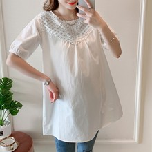 New Fashion O-Neck Lace White Maternity Shirt Short Sleeves Blouse For Pregnant Women 2019 Summer Plus Size Blouses