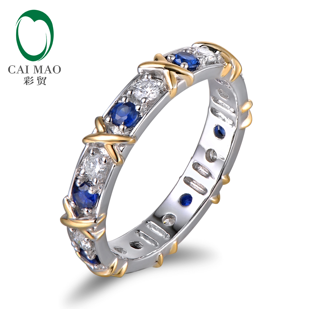 WholeSale Band 14k Two Tone Gold Natural 0.99ct Diamond & Sapphire Wedding Ring
