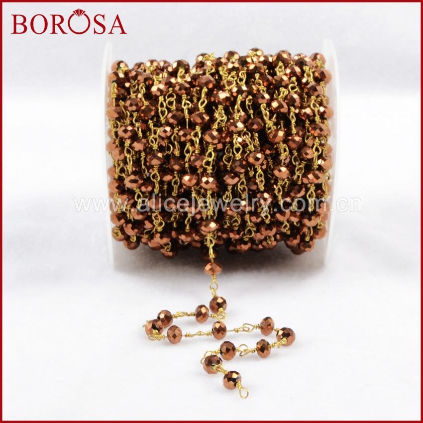 BOROSA 5 Meters Brass Color Titanium Brown Color Glass Beads Chains Necklace Jewelry Finding JT088