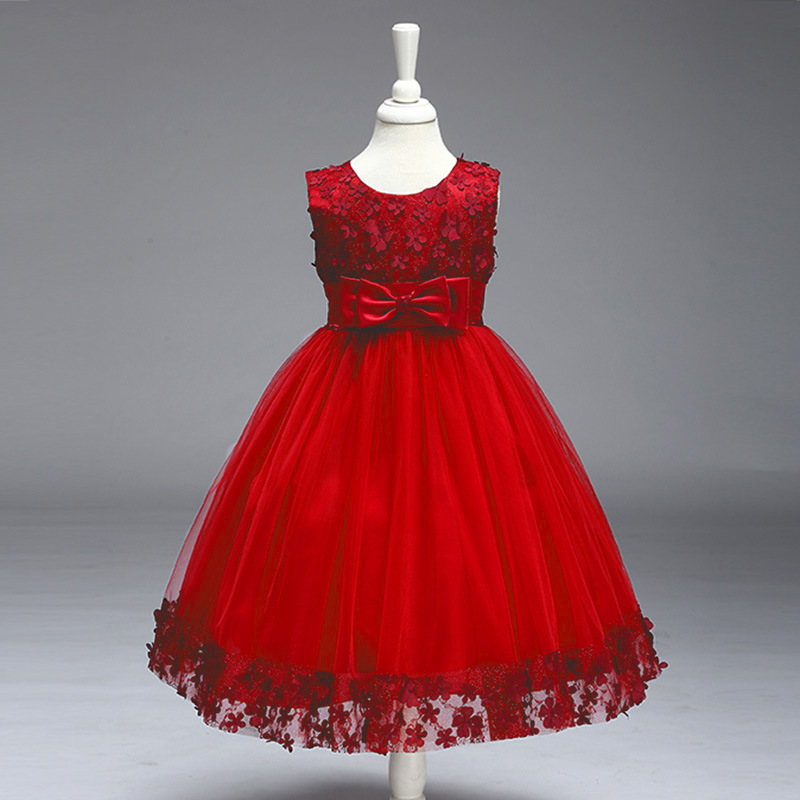 ФОТО High Quality Lace Girl Party Dress 2017 New Girl Dress Flowers Embroidery Birthday Tutu Dress Stylish Elegant Princess Dress