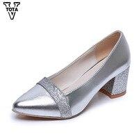 VTOTA האופנה בלינג הבוהן מחודדת אישה נעלי נשים משאבות עבודה להחליק על העקב כיכר Med נעלי פלטפורמת Zapatos Mujer עקבים FC13