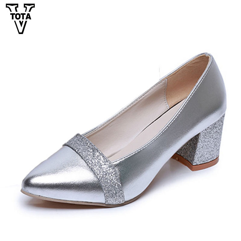 VTOTA Fashion Bling Shoes Woman Pointed Toe Women Pumps Work Slip-on Square Heel Zapatos Mujer Platform Shoes Med heels FC13 gold chain party 2017 spring summer casual shallow slip on square toe bling square heels women pumps free ship mujer pantufa