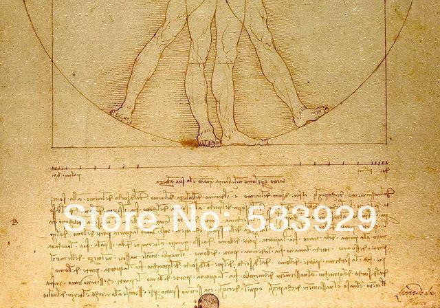 Online Shop Hot Sale Leonardo Da Vinci Uomo Vitruviano Hand Painted ...