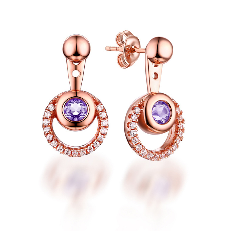 ANI 925 Sterling Silver Women Drop Earrings Natural Amerthyst Color Gemstone Fine Jewelry Engagement Dangle Earrings for Women pair of sweet candy color gemstone embellished earrings for women