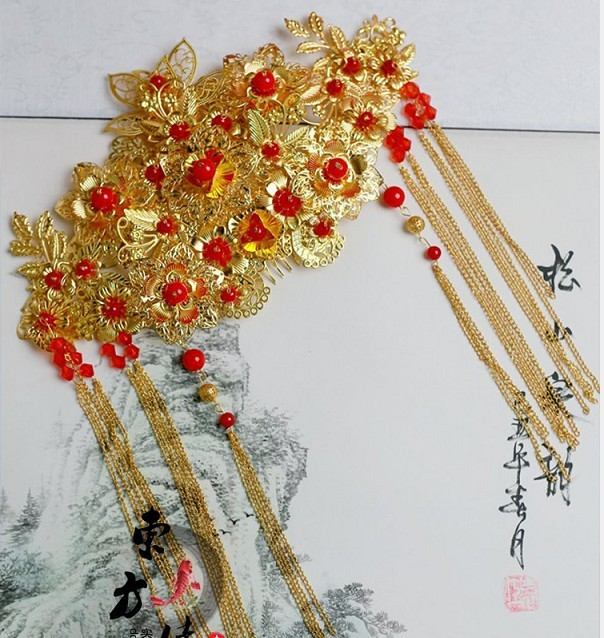 Ancient Chinese Classical Bride Wedding Hair Accessory Hair Tiaras 00009 red gold bride wedding hair tiaras ancient chinese empress hair piece