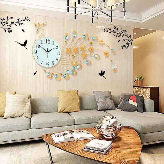 Placeholder 3D Wall Clock Modern Design Home Decor Wall Watches Living Room  39pcs Diamonds Peacock Decorative Wrought