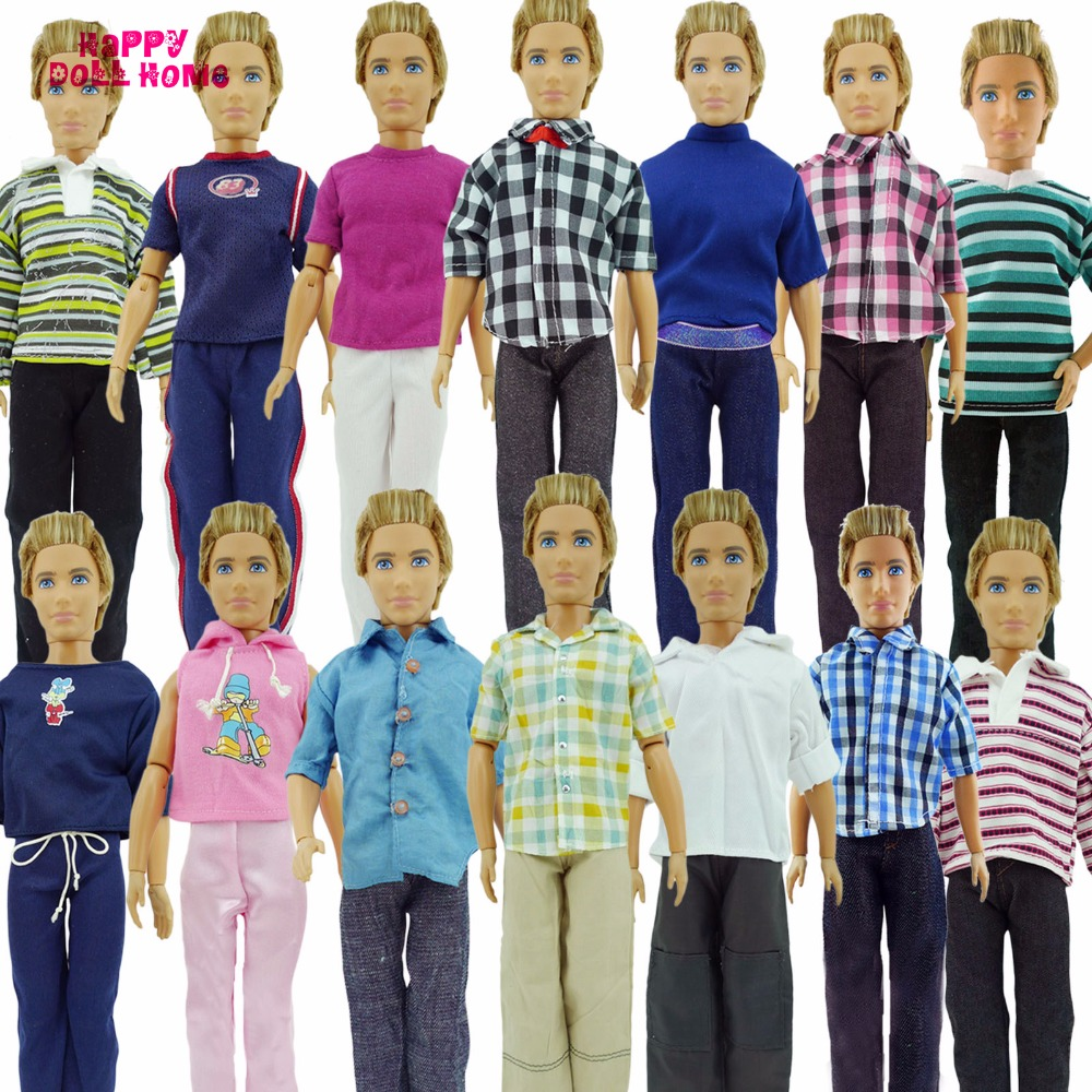 все цены на Randomly Pick 3 Sets Men Cool Casual Suit Clothes Prince Fashion Wear Outfit  For Barbie Friend Ken Doll Best Gift baby Toys онлайн