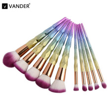 VANDER 10Pcs unicorn Color Professional Makeup Brushes Set Spiral Beauty Cosmetic Eyeshadow Lip Powder Pinceis Kabuki Brush Kits