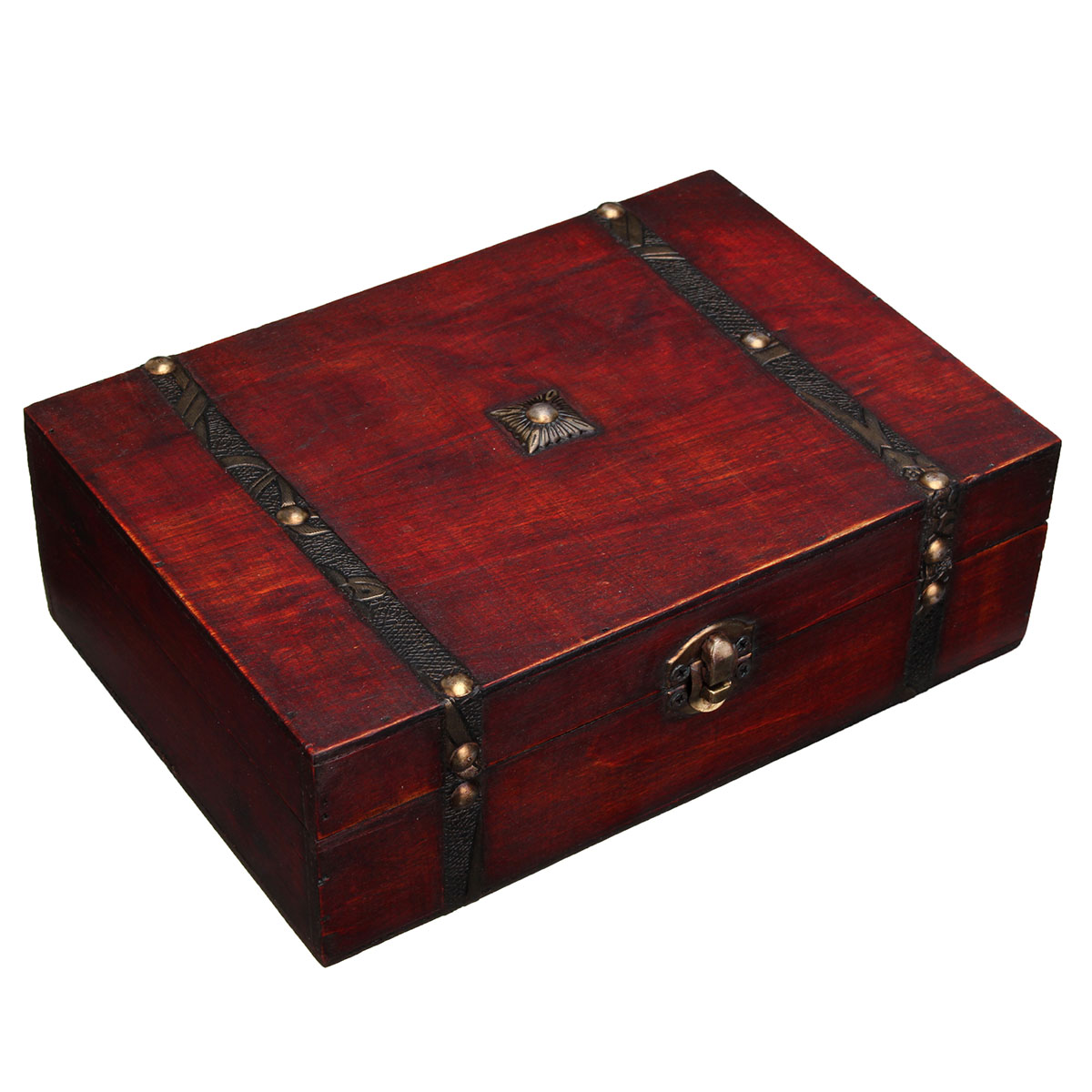 Jewelry retro metal storage lock wooden box antique double for Container en bois