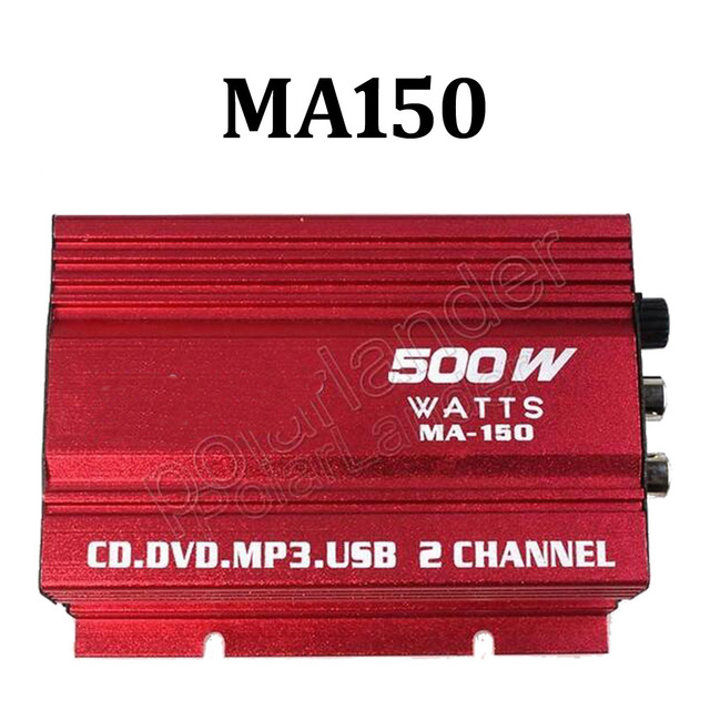 Best Price 2channel MA150 500W HiFi digital power amplifier 12V stereo audio CD DVD MP3 USB car amplifier for Motorcycle &Car