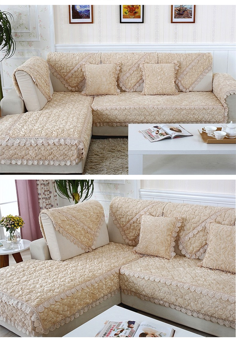 Thick Slip Resistant Couch Cover for Corner Sofa Made with Plush Fabric Including Lace for Living Room Decor 9