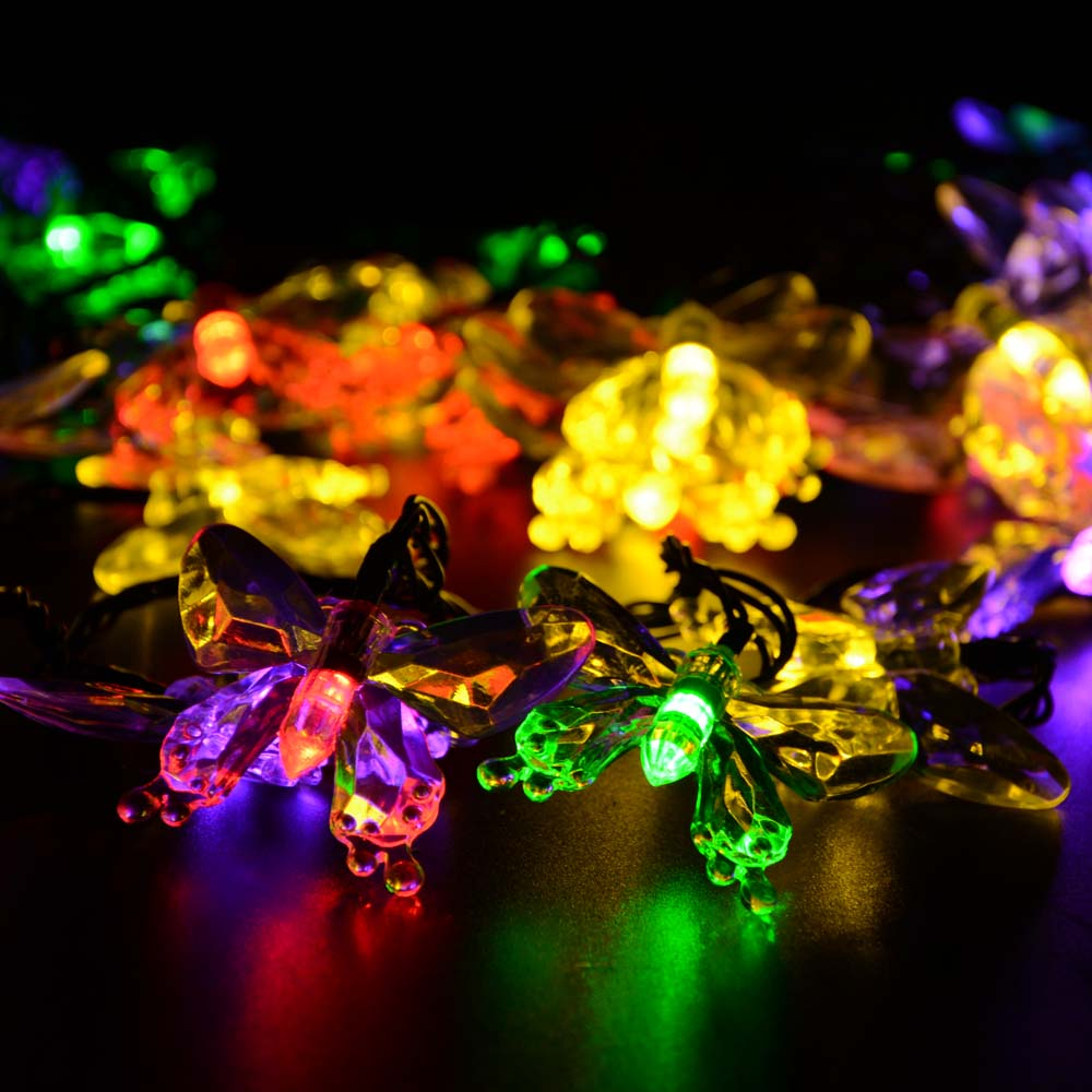 Christmas Lights Outdoor 7.5m 40 Led Strip Solar Powered Fairy Butterfly Garland