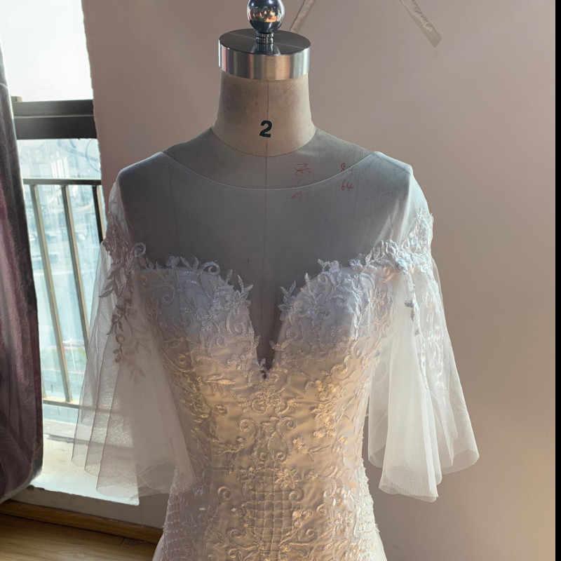 43ec99edf7c ... Элегантные свадебные платья 2019 кружева иллюзия аппликации платье  свадебное платье с юбкой-годе оболочка Vestido